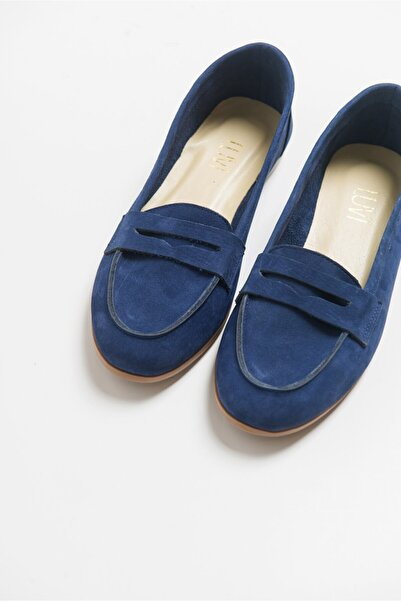 LuviShoes Kadın  Mavı Nubuk Deri Babet F02