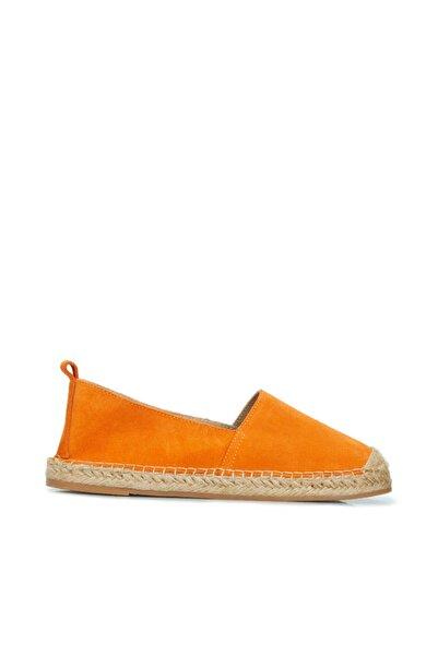 Dıvarese Kadın Turuncu Hasır Tabanlı Ayakkabı