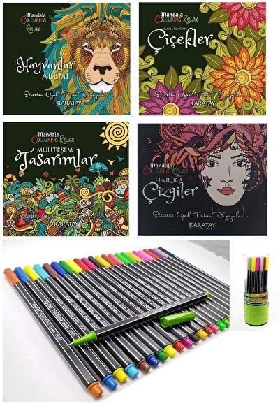 Karatay Yayınları Mandala Yetişkin Boyama Kitabı 4 Adet +24 Renk Fineliner Kalem