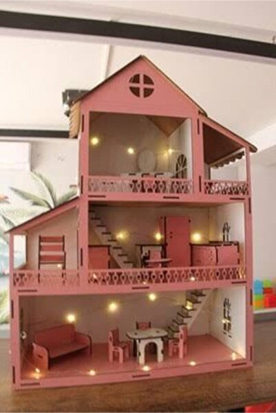 TECHEREN Işıklı Bahçeli Ahşap Barbi Bebek Oyun Evi Eşyalar Dahil Bebek Hediyeli Webdesepet