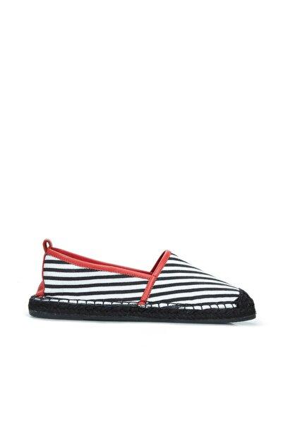 Dıvarese Kadın Siyah Beyaz Çizgili Hasır Tabanlı Ayakkabı