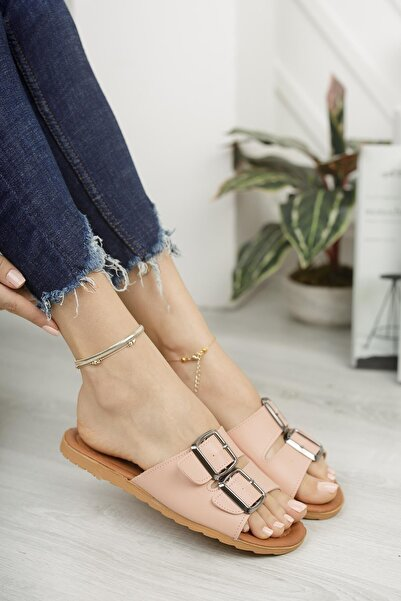 Ekol Ayakkabi Kadın Pembe Çift Tokalı Terlik