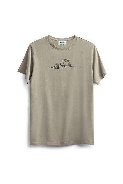 Outrail Unisex Bej Camping And Fire Baskılı T-shirt