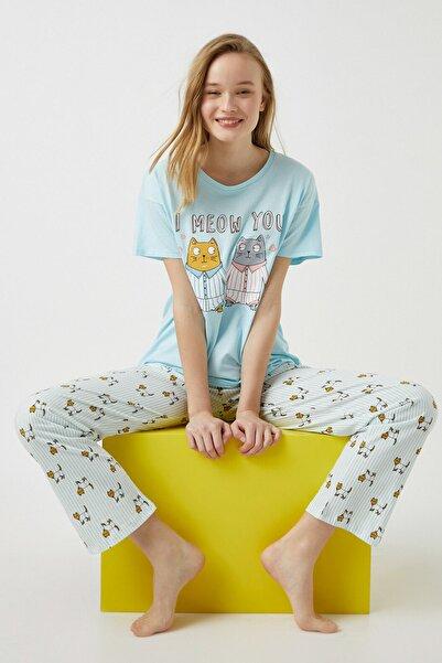 Koton Kadın Yeşil %100 Pamuk Hayvan Baskılı Pijama Takımı