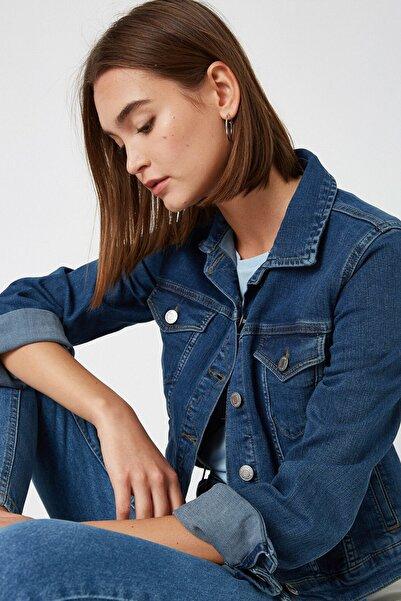 Koton Kadın Mavi Pamuklu Kot Ceket