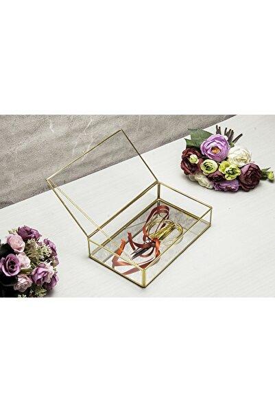 Ahşap Fikir Aynalı Maxi Gold Nişan Yüzük Organizer Ayna Tabanlı Cam Kutu