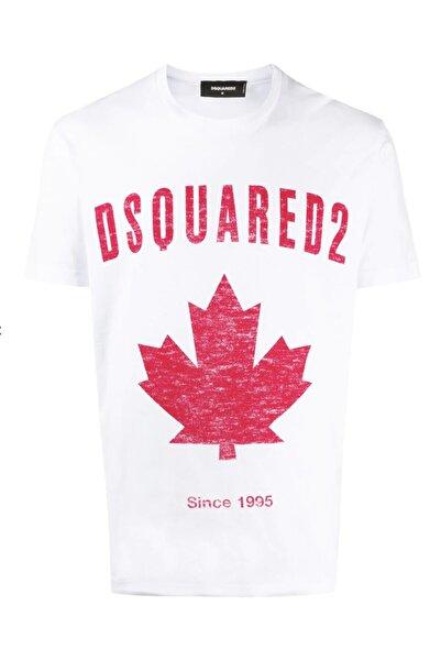 DSquared2 Unisex Beyaz Logo Crew Neck Regular Fit T-shirt