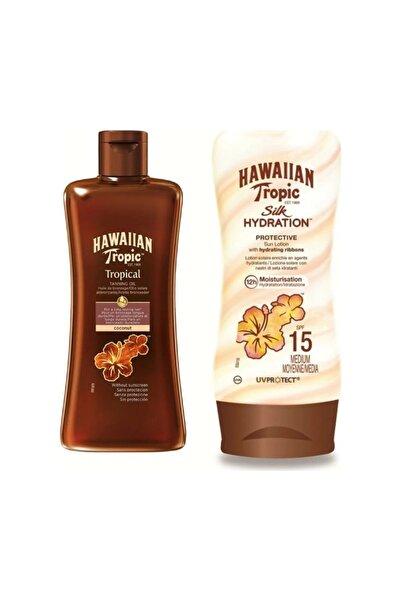 Hawaiian Tropic Hindistan Cevizi Tropikal Yoğun Bronzlaştırıcı Yağ 200ml + Silk Hydration Güneş Losyonu Spf15 180 ml