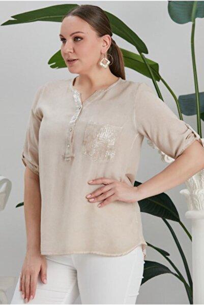 RMG Kadın Vizon Cep Ve Yaka Pul Payet Detaylı Büyük Beden Bluz