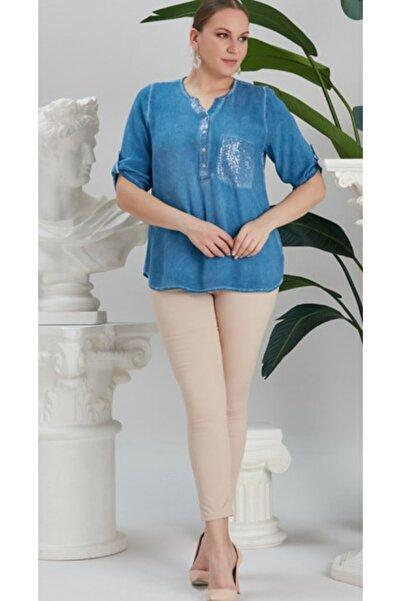 RMG Kadın Indigo Cep ve Yaka Pul Payet Detaylı Büyük Beden Bluz