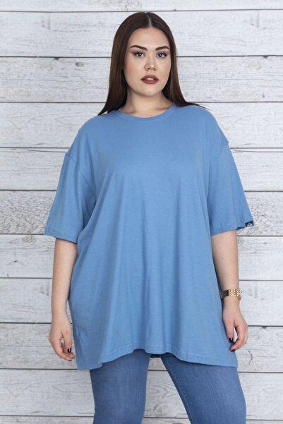Şans Kadın Mavi Geniş Kesim Pamuklu Kumaş Oversize Bluz 65N23862