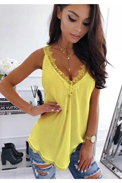 ELBİSENN Yeni Model Kadın Yaka Dantel Önü Arkası V Yaka Bluz (sarı)