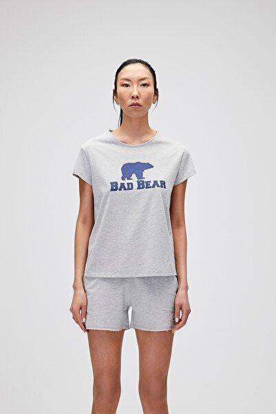 Bad Bear Kadın Gri Melanj Tişört Logo Tee