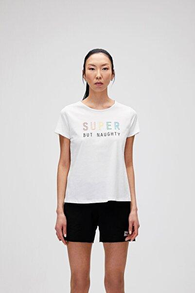 Bad Bear Kadın Kırık Beyaz Super Tee Basklı T-Shirt