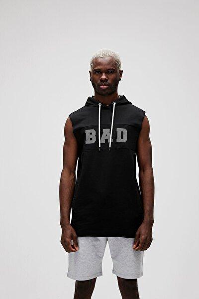 Bad Bear Erkek Siyah Kolsuz Kapüşonlu Sweatshirt