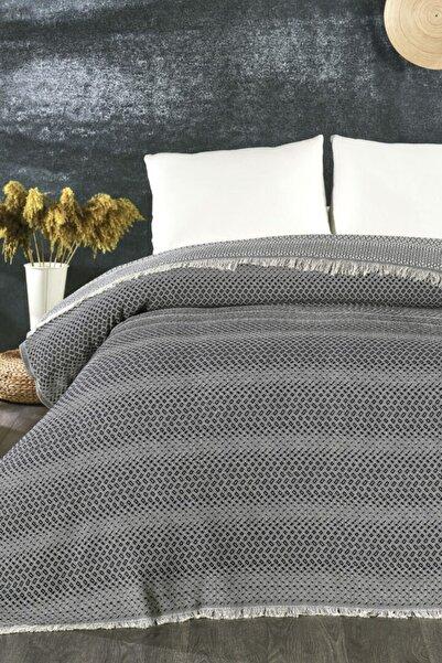 İpekçe Home İpekçe Pamuklu Miya Pike Yatak Örtüsü Lacivert