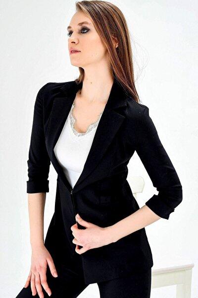 Jument Kapri Truvakar Kol Süs Cepli Kopçalı Ofis Blazer Kumaş Ceket-siyah