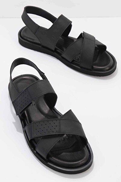 Bambi Hakiki Deri Siyah Erkek Sandalet E05801043403