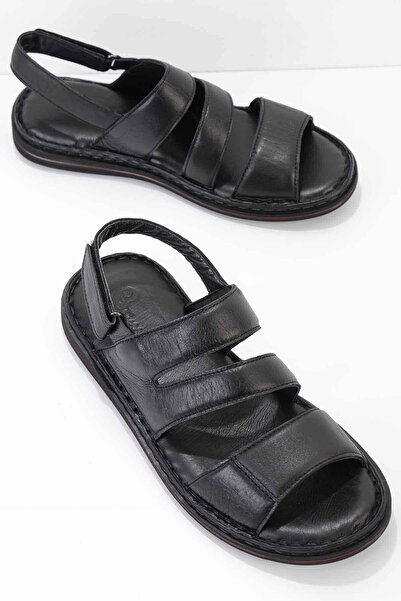 Bambi Hakiki Deri Siyah Erkek Sandalet E05804020903