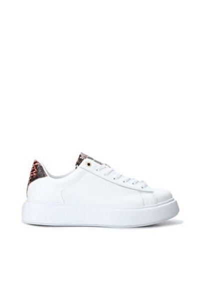 Kadın Beyaz Desen Detayı Deri Sneaker