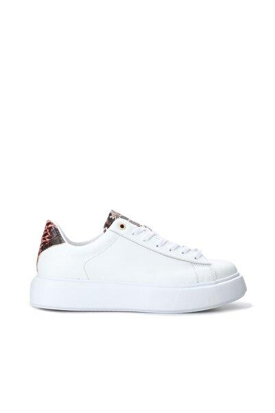 Dıvarese Kadın Beyaz Desen Detayı Deri Sneaker