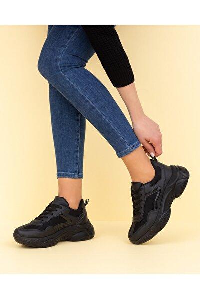 ESPARDİLE Kadın Siyah Cilt Spor Ayakkabı