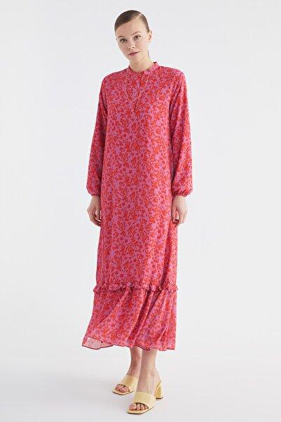 Trendyol Modest Kırmızı Fırfırlı Desenli Krep Elbise TCTSS21EL3353