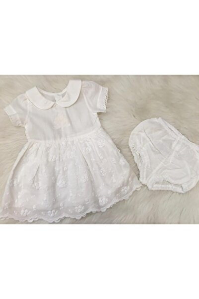 Bebetto Kız Bebek Ekru Dokuma Bebe Yaka Elbise 2'li Takım