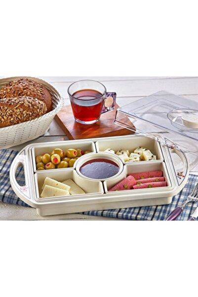 Özmet Çiçekli Kahvaltı Ve Çerez Seti 5 Bölmeli Kapaklı