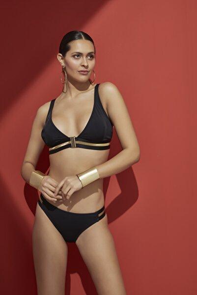 Bellisa Kadın Siyah Önden Klipsi, Gold Lastik Aksesuarlı Üçgen Bikini Takımı