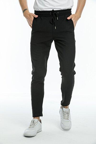 Rasco Erkek Siyah Paça Fermuarlı Jogger Fit Pantolon