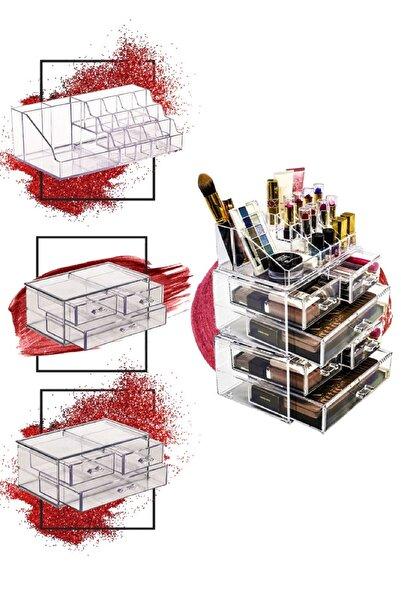 Meleni Home 5 Katlı 6 Çekmeceli Makyaj Düzenleyici Set Akrilik Organizer