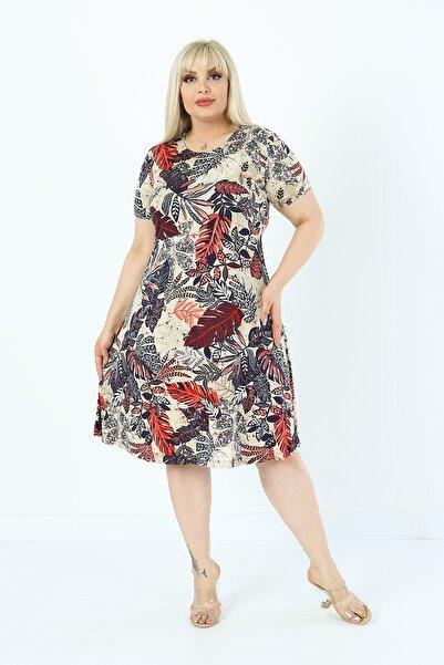 1fazlası Kadın Büyük Beden Çiçekli Yaprak Desenli Viskon Elbise