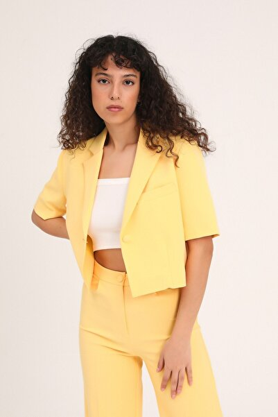 Quzu Kadın Kısa Kol Crop Blazer Ceket Sarı