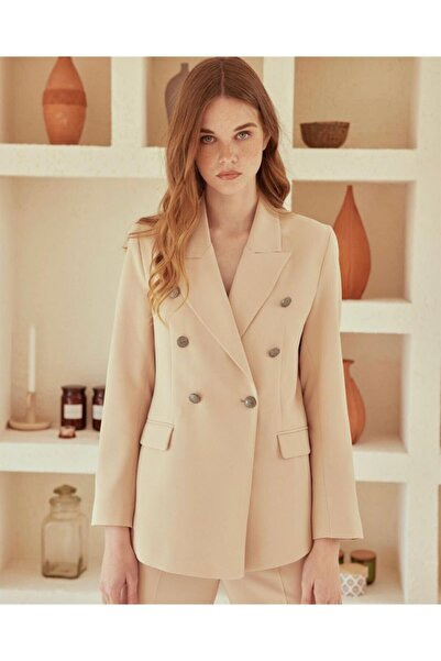 Laluvia Kadın Bej 3 Düğme Ceket Pantolon Takım
