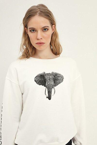 Quzu Kadın Beyaz Fil Baskılı Sweatshirt