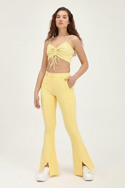 Quzu Kadın Ispanyol Paça Yüksek Bel Pantolon Sarı