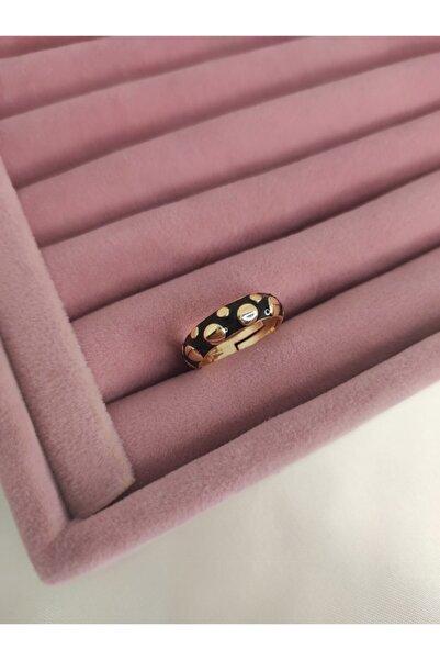 beige accessory Siyah Benekli Model Gold Kaplama Ayarlanabilir Beden Yüzük