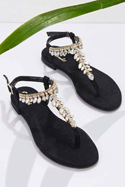 Bambi Siyah Süet Kadın Sandalet K05544006065
