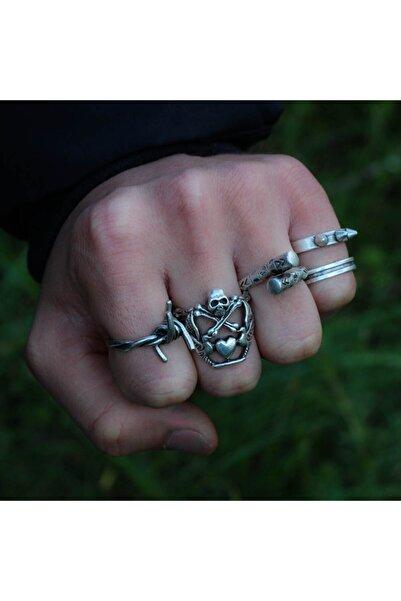Zuk Collection Gümüş Kaplama Yüzük Ayarlanabilir Model Erkek Yüzük Seti