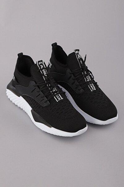 Arlin Erkek File Detaylı Bağcıklı Esnek Hafif Yapılı Siyah-beyaz Spor Ayakkabı