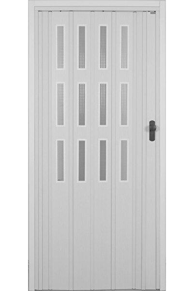 DEKORAKS 3 Sıra Camlı Akordeon Kapı, Beyaz Düz Renkli, 87x215 cm