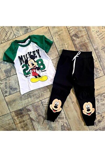 Mickey Mouse Erkek Çocuk Yeşil Siyah Baskılı Takım