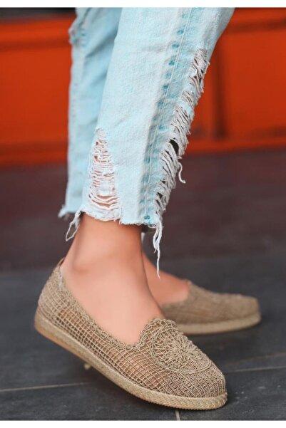 ESPARDİLE Kadın Vizon Örgülü Babet Ayakkabı