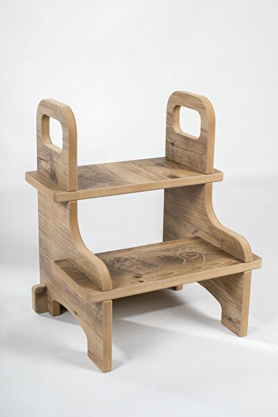 damping Ahşap Basamak Tabure Çocuk Bebek Banyo Wc Lavabo Merdiven Yükseltici Eğitici Kaymaz Montessori