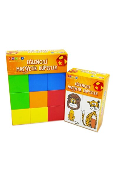 KÜPSS Manyetik Küp Tanışma Seti (mıknatıslı Klasik Renk Küp + Sevimli Hayvanlar Puzzle)