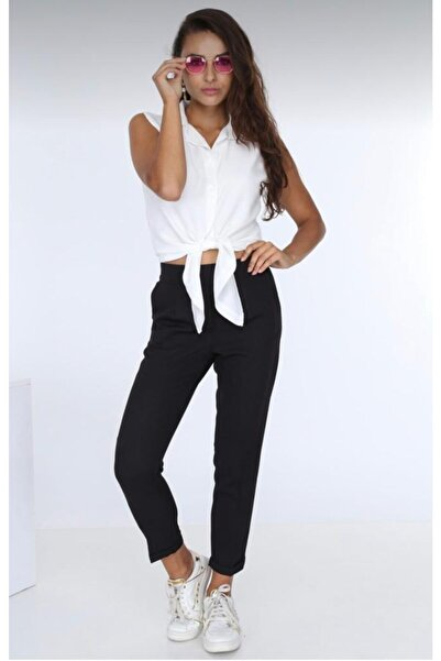 Patiska Kadın Siyah Beli Lastikli Duble Paça Pantolon 5007