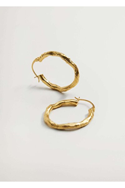 MANGO Woman Kadın Altın Sarısı Kabartmalı Halka Küpe 87012520