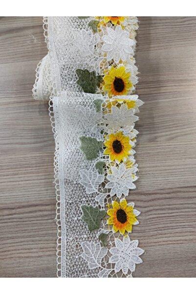 DUAYEN Batikli Krem Mutfak Güpürü Dantel Ayçiçeği Desen Tekstil Aksesuarı 8 Metre