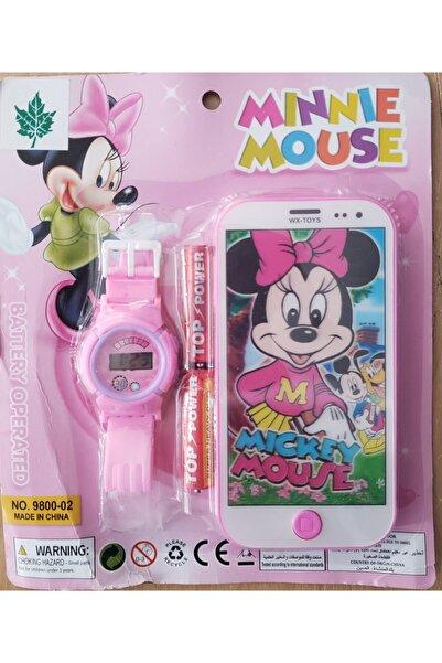 Minnie Mousee Minnie Mouse Oyuncak Telefon Çocuk Kol Saati Ikili Set
